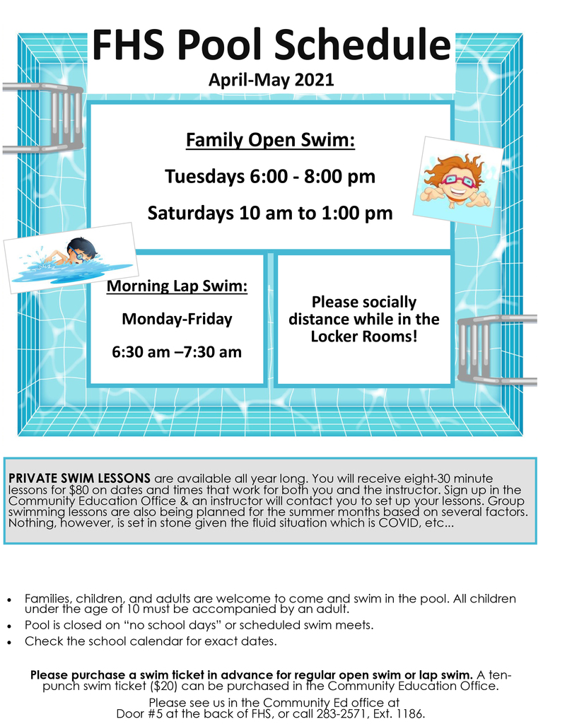 Pool Hours April/May 2021