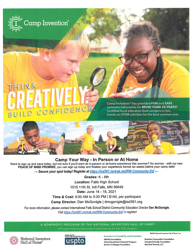 Camp Invention is back for 2021!