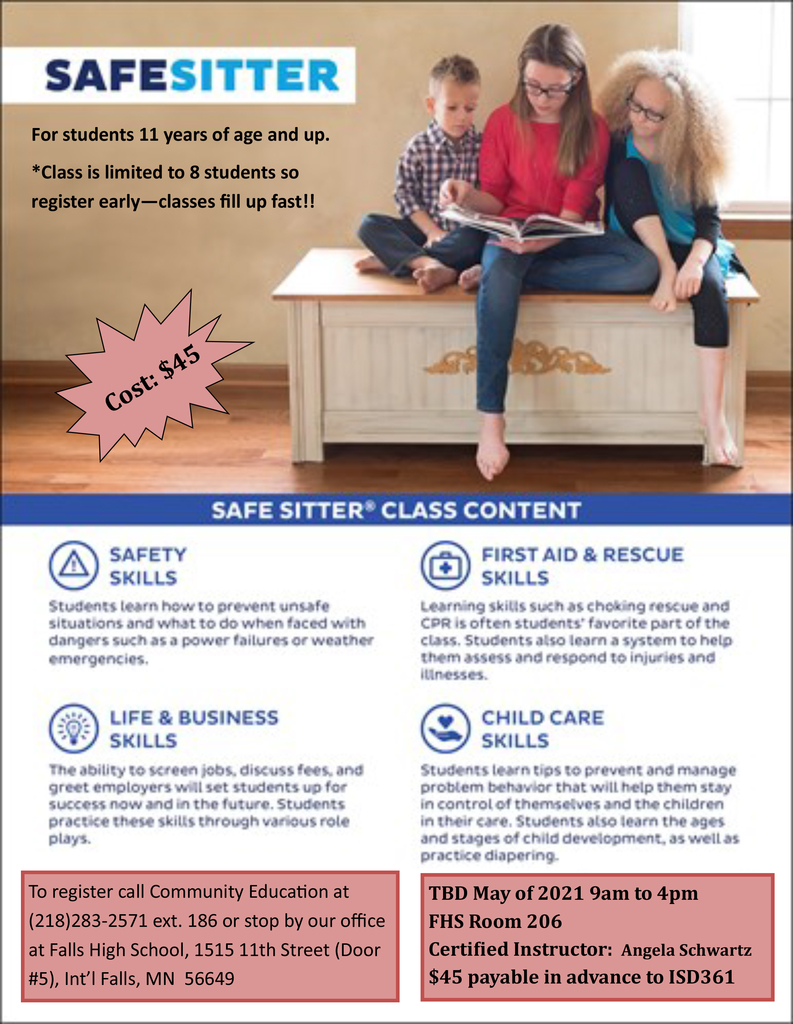 Safe Sitter class date TBD-May, 2021
