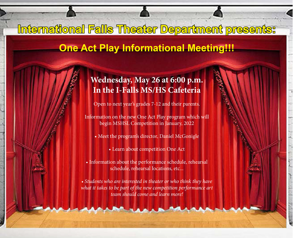 One Act Play informational meeting