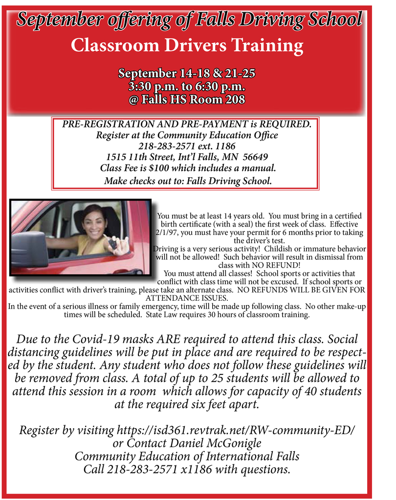 Falls Driving School Sept. 2020
